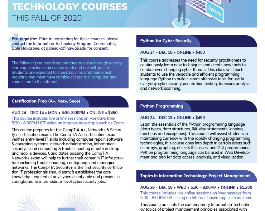 Upcoming Information Technology Courses
