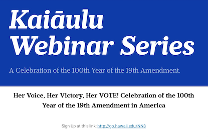 KWS: Her Voice, Her Victory, Her VOTE! Celebration of the 100th Year of the 19th Amendment in America