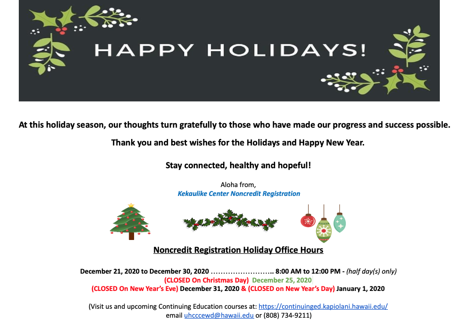 Holiday Message from the Registration Office